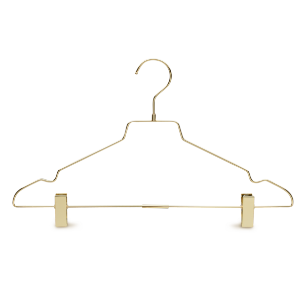 Metal Gold Bottom Clothes Hanger front view
