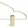 Metal Gold Bottom Clothes Hanger front view detail clamp